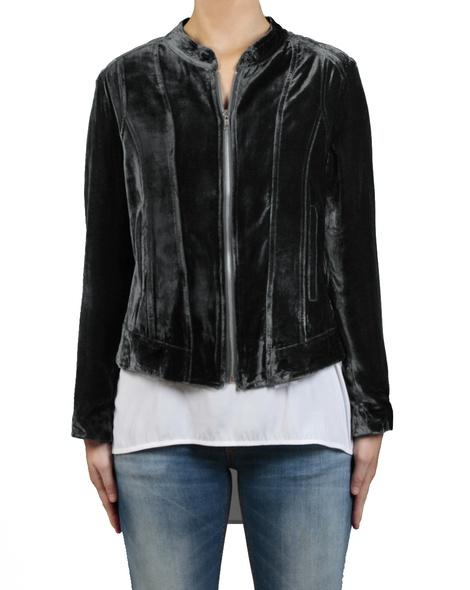 Silk Velvet Bomber black front zipped white