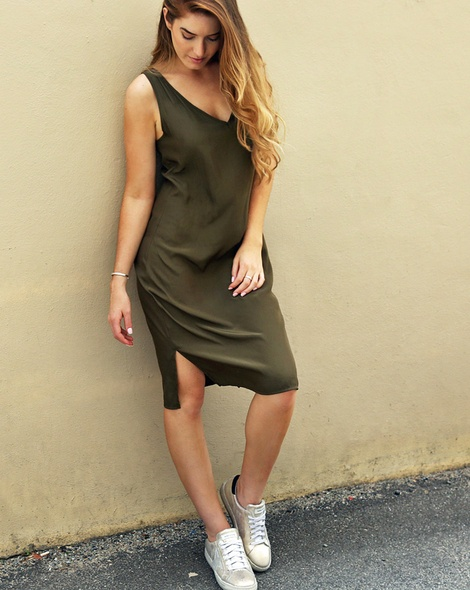 Kendall Dress Olive + Flarv gold (18)