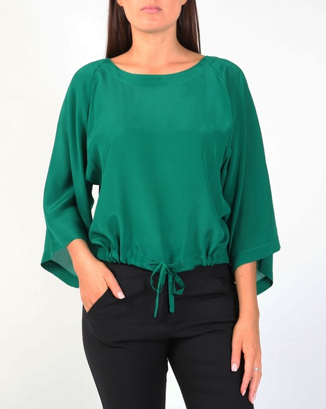 Silk lotus top emerald A