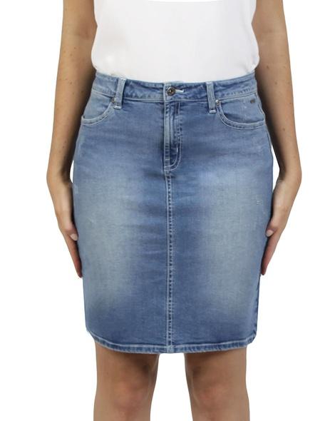 Distressed denim skirt A