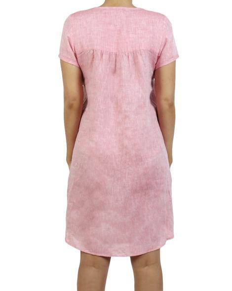 Linen cap sleeves shift dress watermelon B