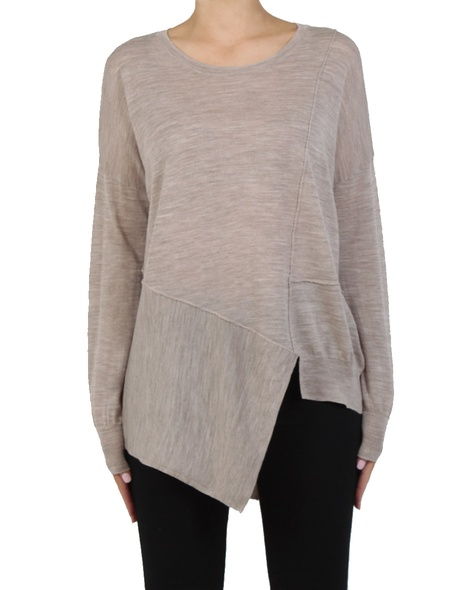 Lenny assymetric knit oatmeal front