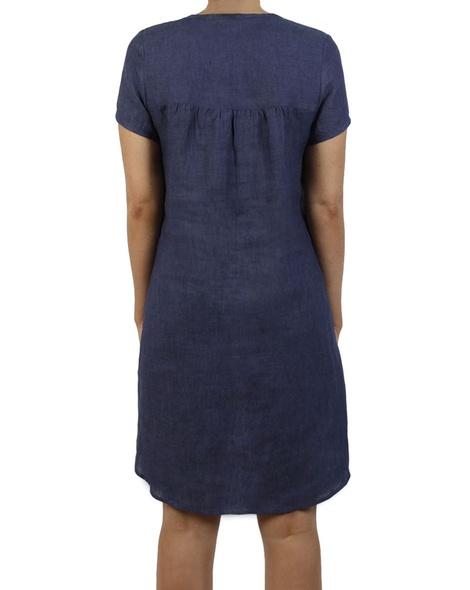 Linen cap sleeves shift dress navy B