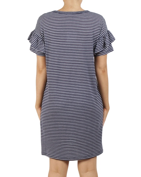 stripy eliza dress navy B