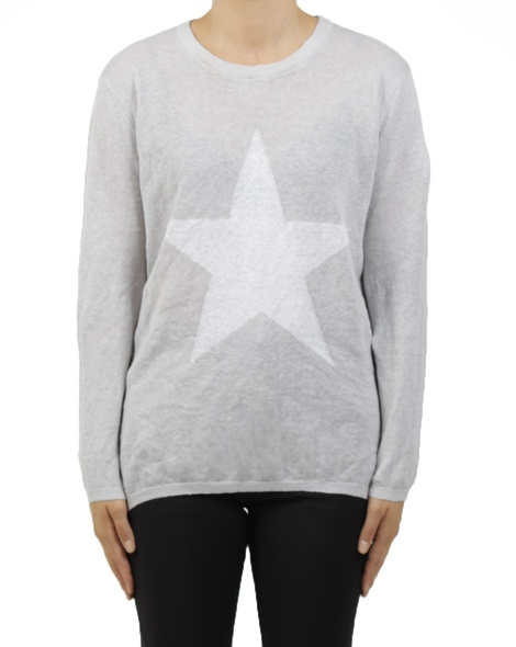 crew neck knit grey A