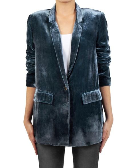 Silk velvet blazer blue front sleeves copy