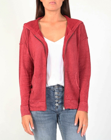 Boyfriend hoodie cardi red A
