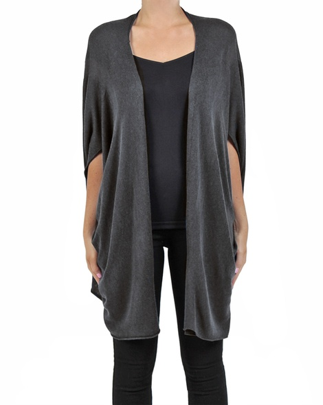 Snuggle cape charcoal front a