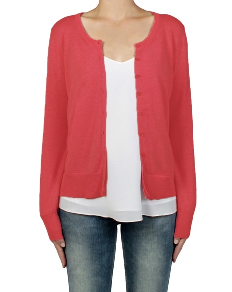 essential cotton cardi poppy front