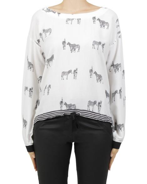 zebra delma top white A