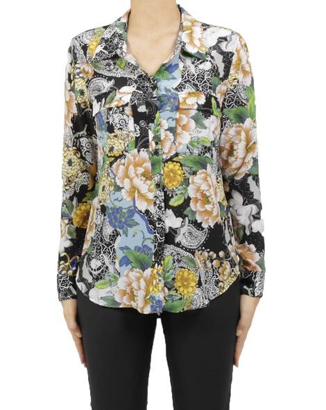 Oriental bloom silk shirt A