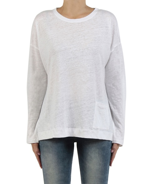 Linen boatneck knit white front copy