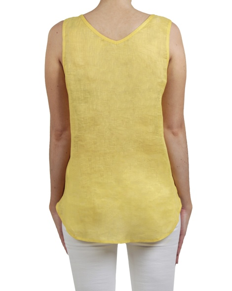 Pintuck gauze tank yellow back