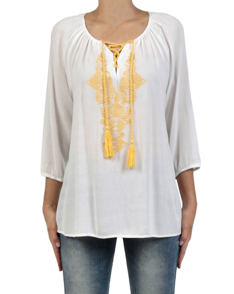 Tapestry top mustard front