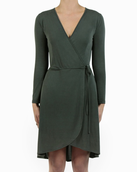 Beckham Wrap Dress kale front copy