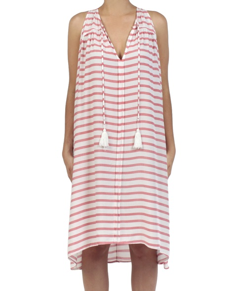 Stripey Abby dress red front