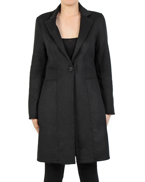 Longline blazer black front button copy