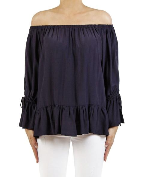 Anna button sleeve blouse navy A copy