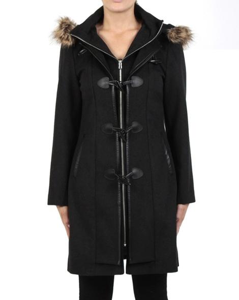 Fur trim duffel coat charcoal front copy