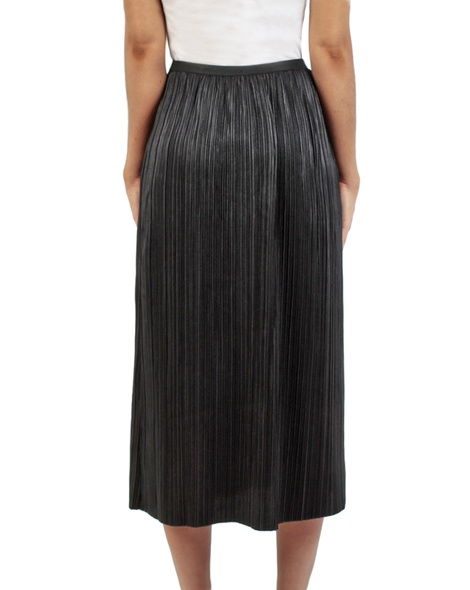 Pleats midi skirt black back