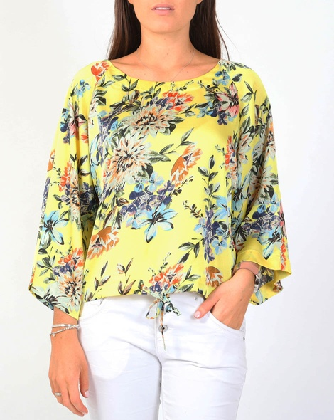 Floral lotus top yellow A