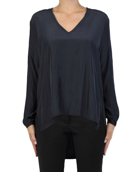 Muriel Top navy front blk pants