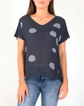 Spotty linen top navy A