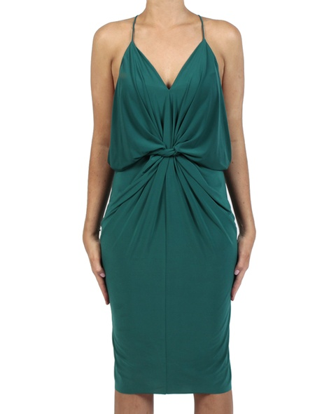 Hayden Dress emerald front tied