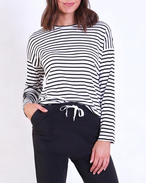 Stripey loose fit tee blk A