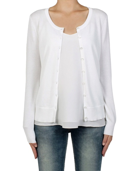 essential cotton cardi white front