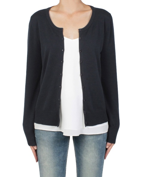 essential cotton cardi navy front