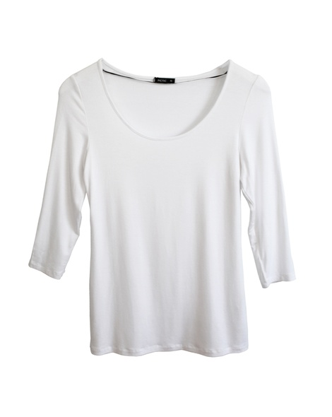 core 3-4 sleeve scoop neck White front
