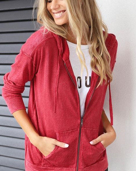 Boyfrien hoodie cardi red amour tee (4)