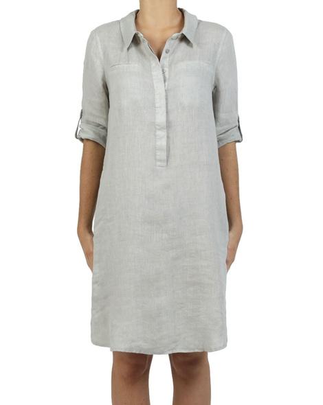 Roll up sleeve denim skirt ash A