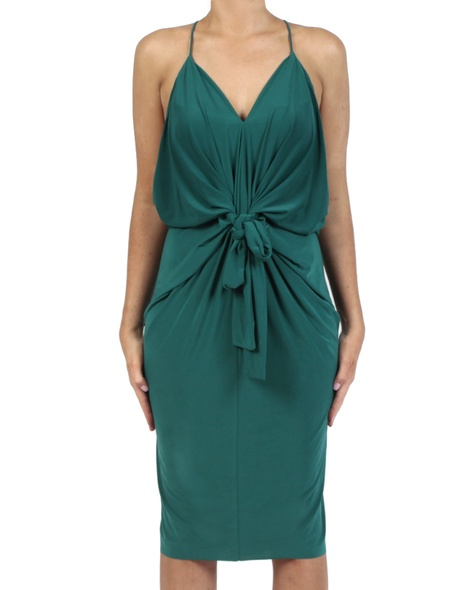 Hayden Dress emerald front bow