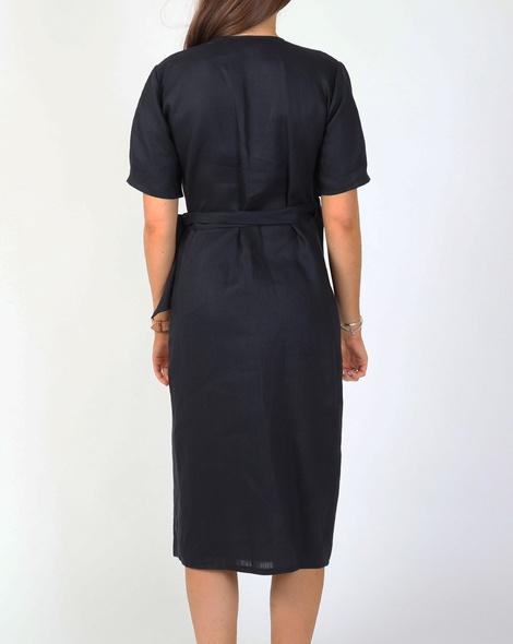 TIa wrap linen dress midnight B