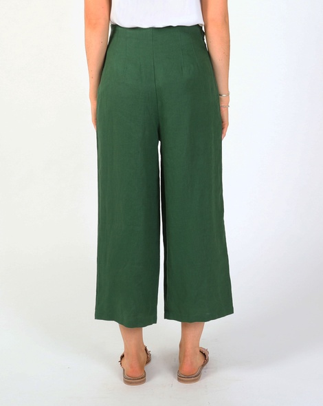 Claire linen pant green B new