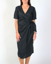 Tia Linen Wrap Dress