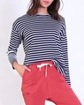 Stripey loose fit tee navy A
