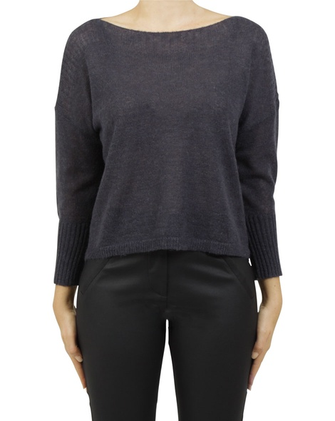 boat neck crop charcoal A
