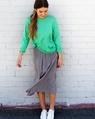 Linen boatneck knit apple + pleasts midi skirt (16)