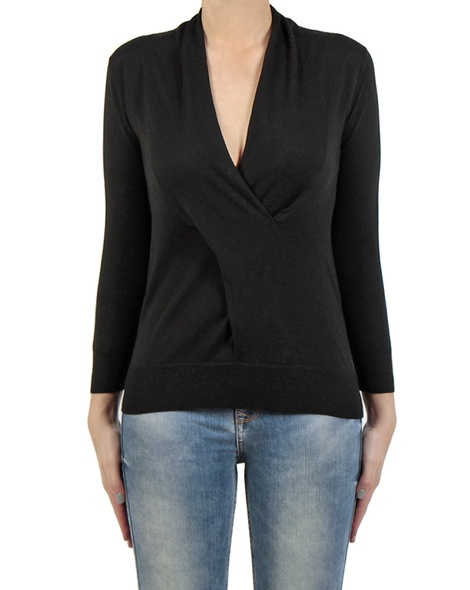 Carrie Wrap Knit black front copy