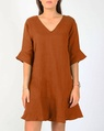 Jessie linen dress tobacco A