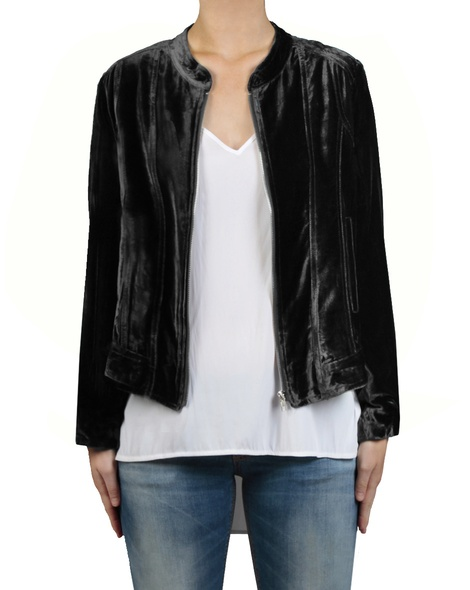 Silk Velvet Bomber black front