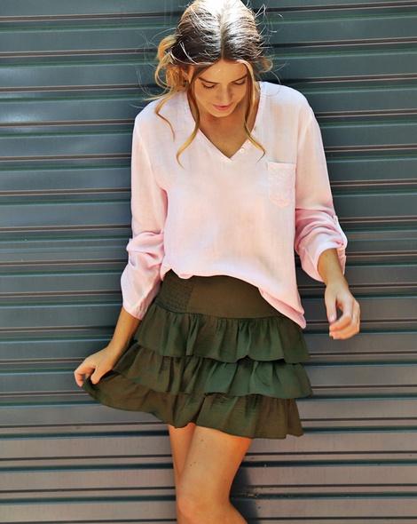 Posie Skirt Khaki + becca blush (11)