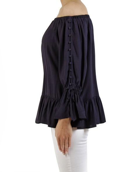 Anna button sleeve blouse navy C copy