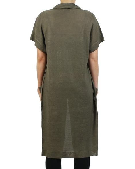 Longline linen cardigan sage back copy