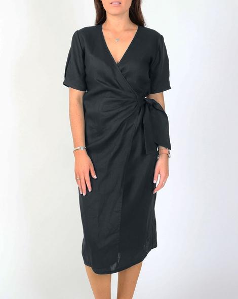 TIa wrap linen dress kale A