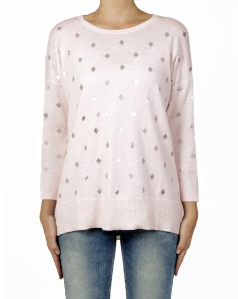diamond knit pink front
