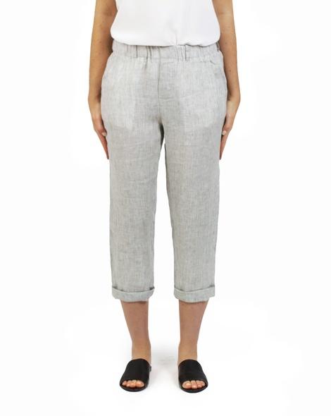 Essential stripe linen pant sage A